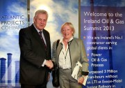 Pictured at the Irish Oil and Gas 2013 Summit held at The Radisson Blu Hotel in Dublin, is Fergus O'Dowd TD, Minister of State, Dept of Communications, Energy & Natural Resources and Environment, pictured with Susan Morrice, Chairperson of Belize Natural