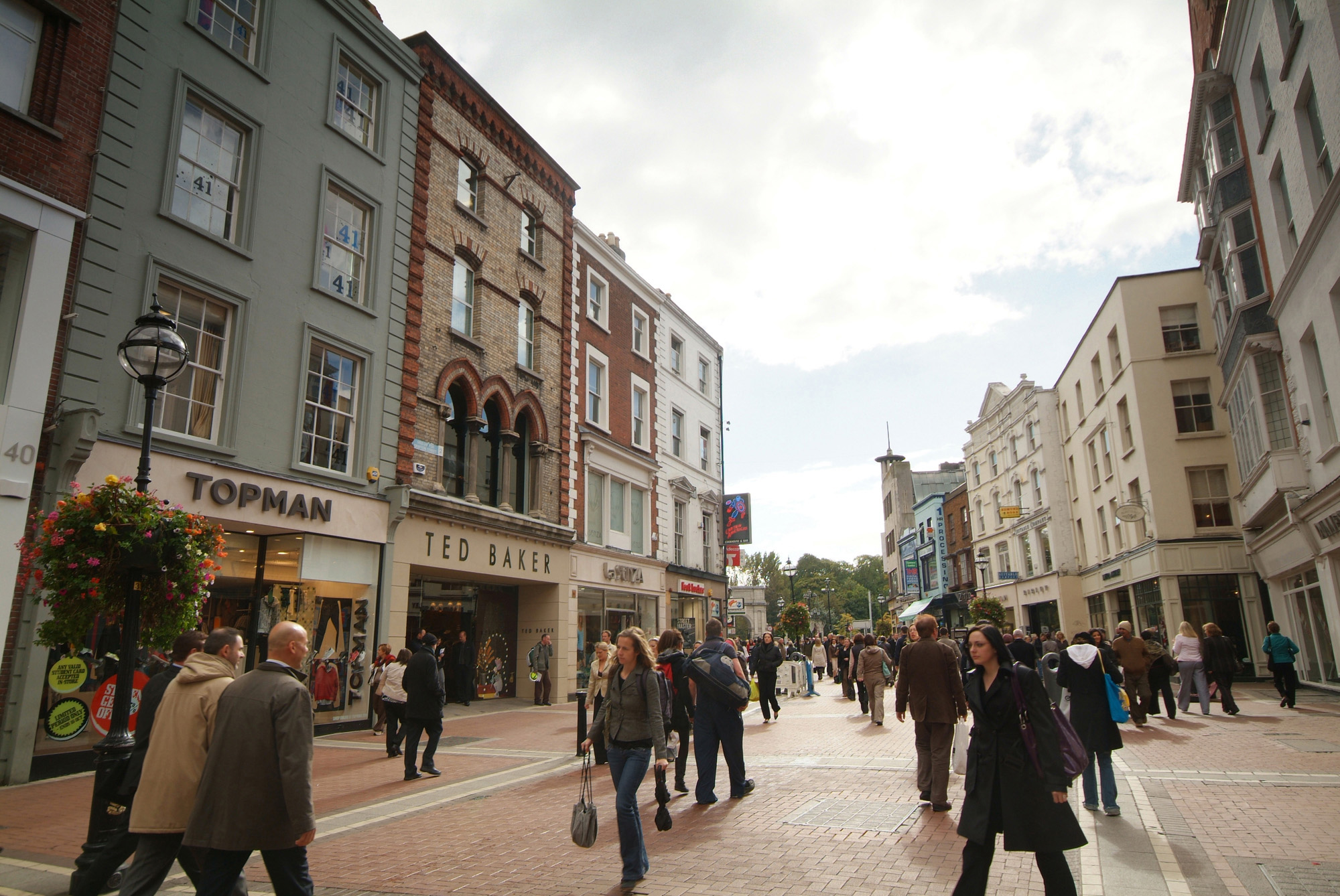 Grafton Street with St. Stephen's Green in the background by day