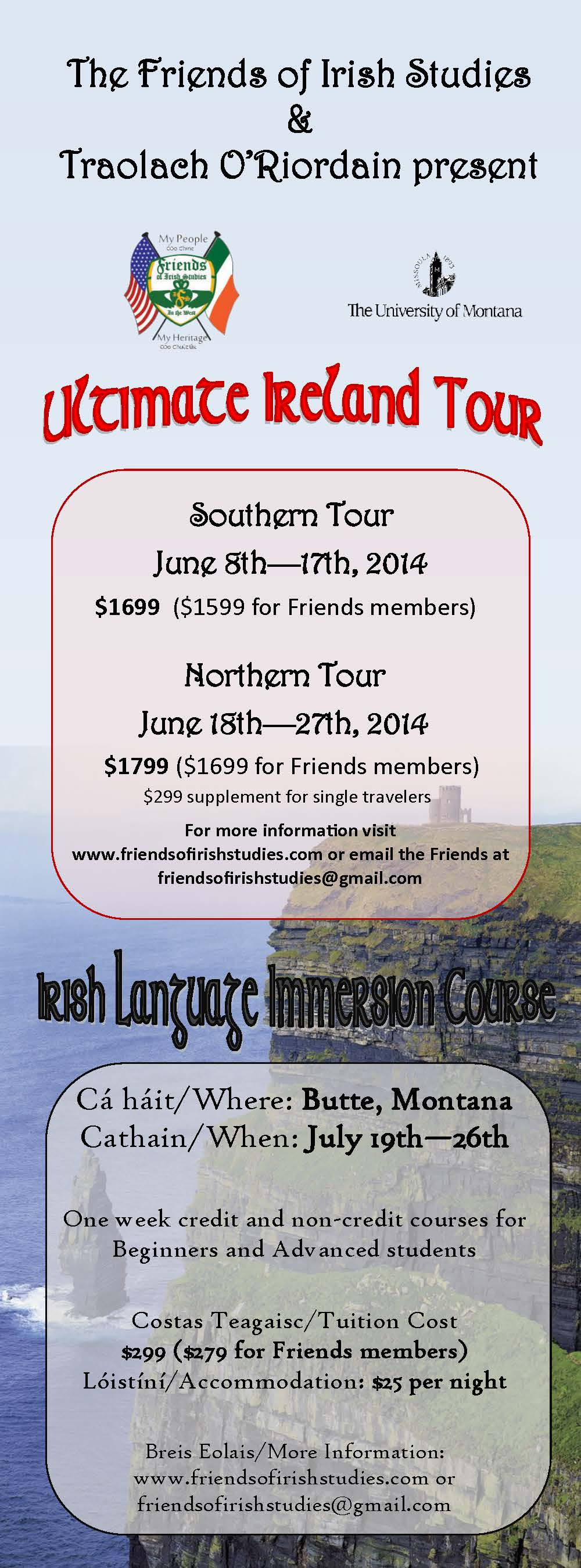 Montana Tour & Immersion 2014 - Celtic Connection ad